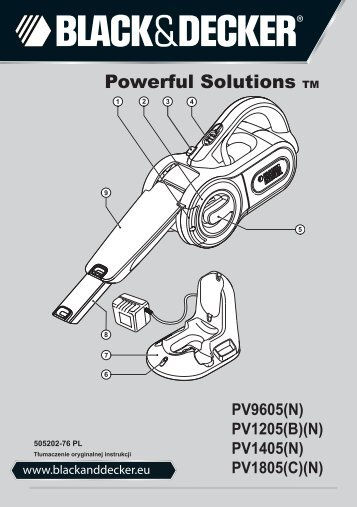 BlackandDecker Aspirateur Port S/f- Pv9605 - Type H1 - Instruction Manual (Pologne)