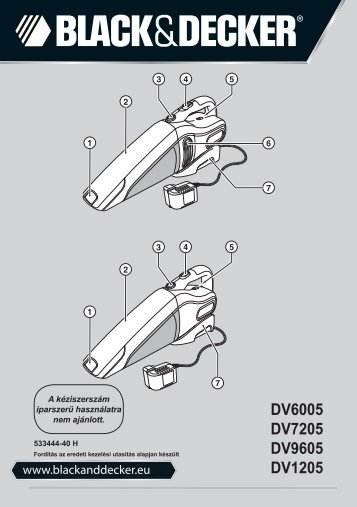 BlackandDecker Aspirateur Port S/f- Dv9605 - Type H1 - Instruction Manual (la Hongrie)