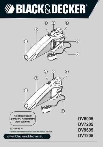 BlackandDecker Aspirateur Port S/f- Dv7205 - Type H1 - Instruction Manual (la Hongrie)