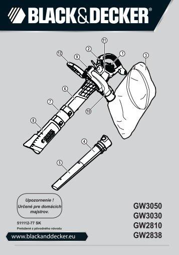 BlackandDecker Aspirateur Soufflant- Gw2838 - Type 1 - Instruction Manual (Slovaque)