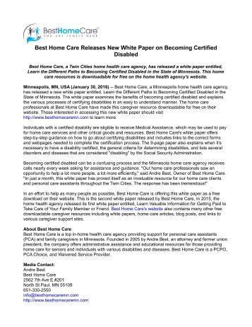 Best Home Care Releases New White Paper on Becoming Certified Disabled