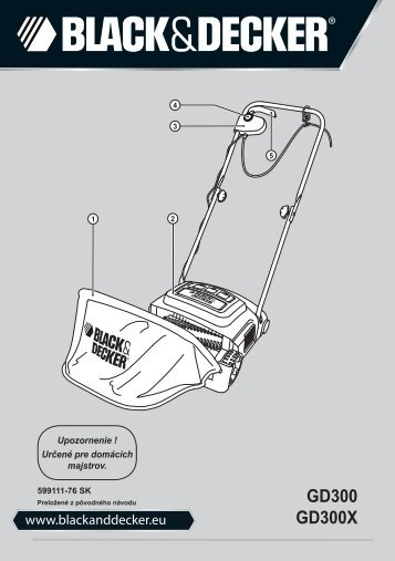 BlackandDecker Rateau De Tondeuse- Gd300 - Type 1 - Instruction Manual (Slovaque)