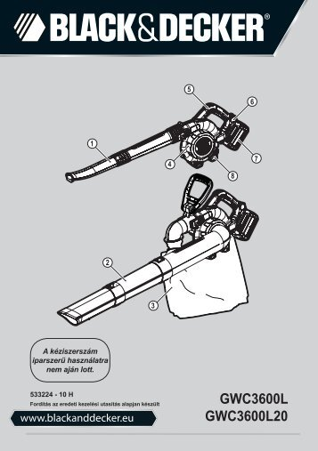 BlackandDecker Aspirateur Soufflant- Gwc3600l - Type 1 - Instruction Manual (la Hongrie)