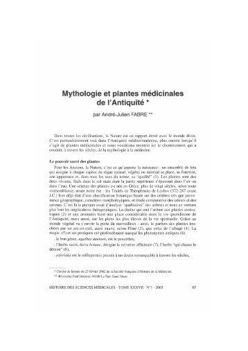 Mythologie et plantes médicinales de  l'Antiquité * - Bibliothèque ...