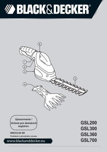 BlackandDecker Debroussaileuse- Gsl200 - Type H1 - Instruction Manual (Slovaque)