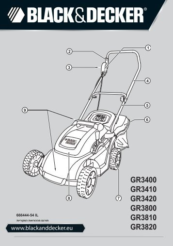 BlackandDecker Tondeuse Rotative- Gr3400 - Type 1 - 2 - Instruction Manual (Israël)