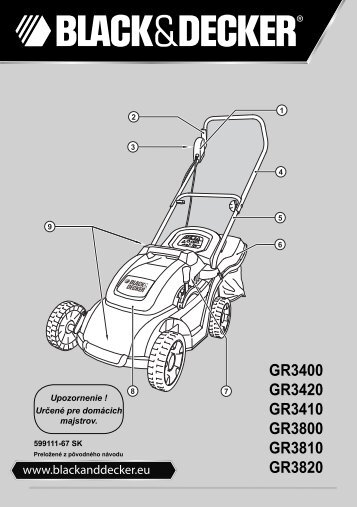 BlackandDecker Tondeuse Rotative- Gr3810 - Type 1 - 2 - Instruction Manual (Slovaque)
