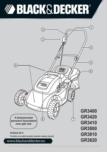 BlackandDecker Tondeuse Rotative- Gr3810 - Type 1 - 2 - Instruction Manual (la Hongrie)