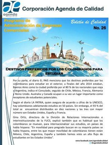 Destinos preferidos por los Colombianos para estudiar