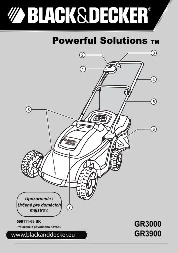 BlackandDecker Tondeuse- Gr3900 - Type 1 - 2 - Instruction Manual (Slovaque)
