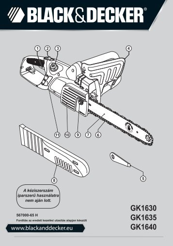 BlackandDecker Tronconneuse- Gk1640 - Type 5 - Instruction Manual (la Hongrie)