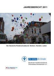 jahresbericht 2011 - Deutsche Kinderschutzbund OV Nordenham