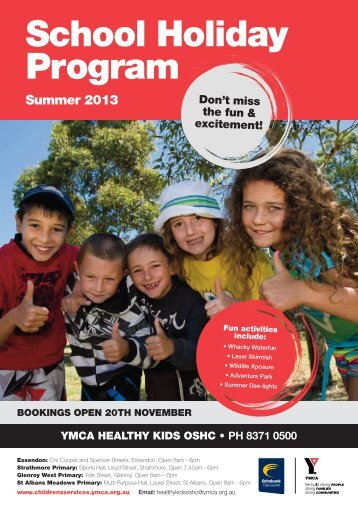 BOOKINGS OPEN 20TH NOVEMBER School Holiday Program ...