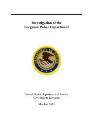 U.S. Justice Department Report on the Ferguson Police Department