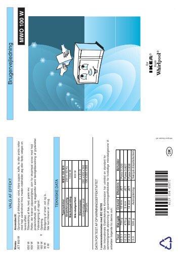 KitchenAid 10079328 MWO 140 W - Microwave - 10079328 MWO 140 W - Microwave DA (858720016290) Mode d'emploi