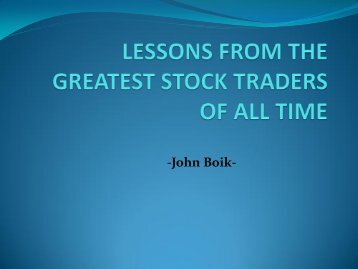 lessons from the greatest stock traders of all - aBOUT