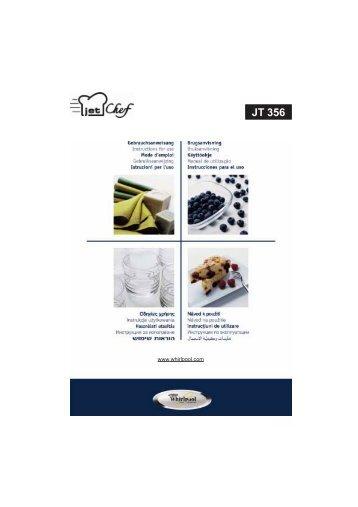 KitchenAid JT 356 alu - Microwave - JT 356 alu - Microwave DA (858735699640) Mode d'emploi