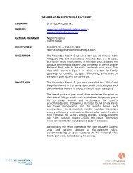 the verandah resort & spa fact sheet - Cheryl Andrews Marketing