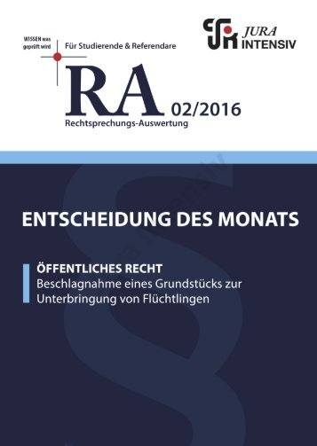 RA 02/2016 - Entscheidung des Monats