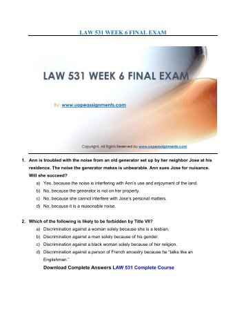 Business law final exam - College paper Example - August 2019