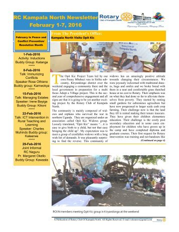 Rotary Club of Kampala North Bulletin - February 1-7, 2016