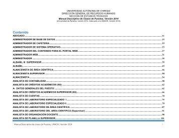 Manual de Cargos UNACHI 2014