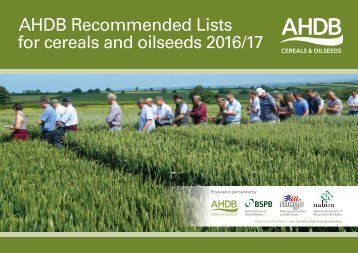 AHDB Recommended Lists for cereals and oilseeds 2016/17