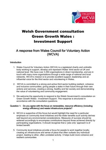 Welsh Government consultation Green Growth Wales  Investment Support
