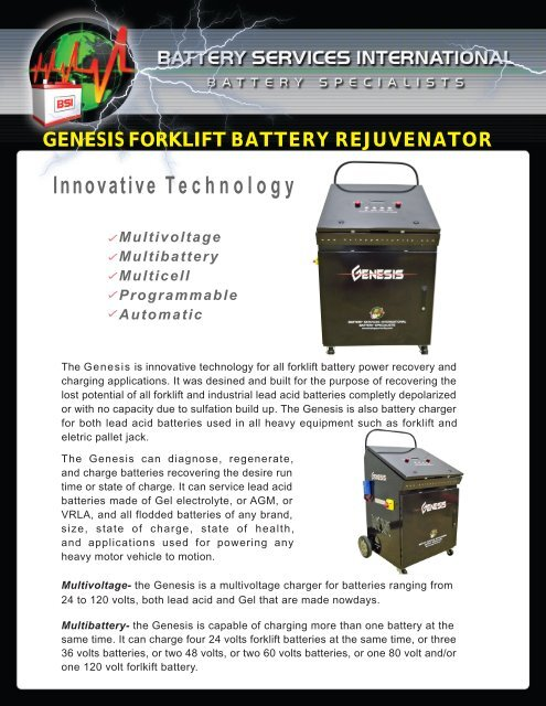 Genesis Forklift Battery Rejuvenator Innovative