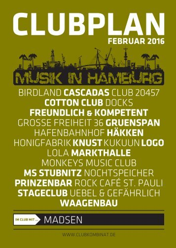 Clubplan Hamburg - Februar 2016