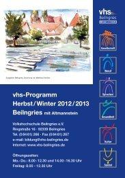 vhs-Programm Herbst / Winter 2012 / 2013 - vhs Beilngries