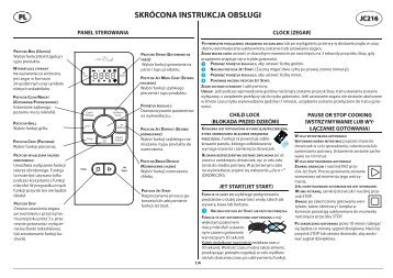 KitchenAid JC 216 BL - Microwave - JC 216 BL - Microwave PL (858721699490) Guide de consultation rapide