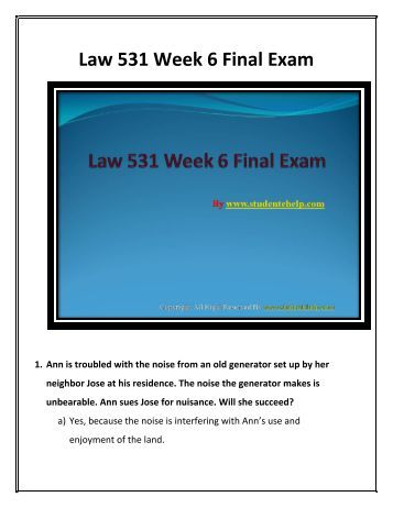 business law final exam Notes for the end of semester exam, which is lectures 5-10 it covers everything  you need to know for the exams.