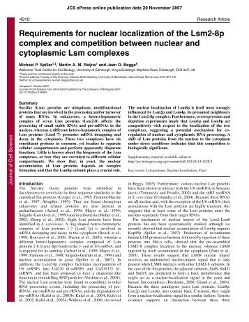 Requirements for nuclear localization of the Lsm2-8p complex and ...