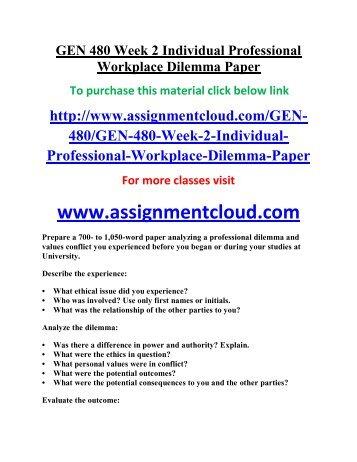 workplace dilemma paper