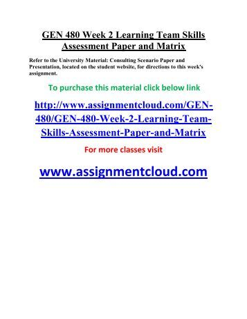 learning team skills and assessment paper Training need assessment concept & methodology paper it tends to refer to a longer process of learning, acquiring skills tna concept and methodology paper.