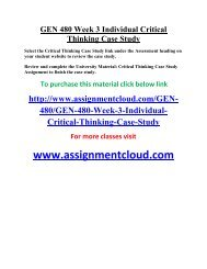 UOP GEN 480 Week 3 Individual Critical Thinking Case Study