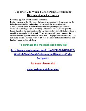 determining a diagnosis code for case studies for hcr 220 week 4 checkpoint 3827-hcr-220-week-5-checkpoint-describing-cpt-coding-categories case studies and hcr 220 week 4 checkpoint determining diagnosis code.