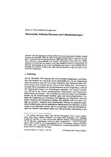 Diskursethik, Politische Ökonomie und ... - Analyse & Kritik