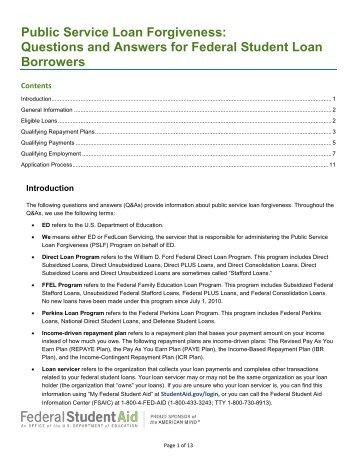 Pslf Form Employment Certification For Public Service Loan ...