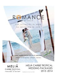 MELIÁ CARIBE TROPICAL WEDDING PACKAGES 2013 -2014