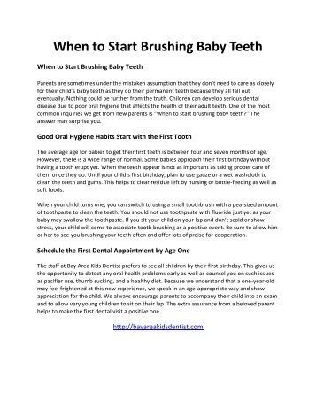 When to Start Brushing Baby Teeth