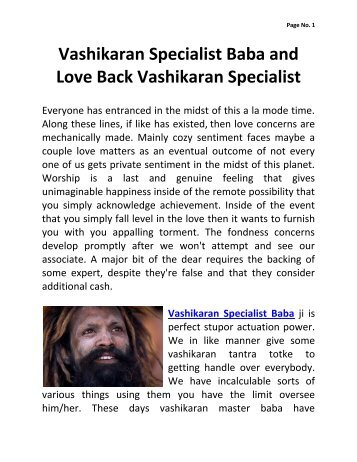 Vashikaran Specialist Baba and Love Back Vashikaran Specialist