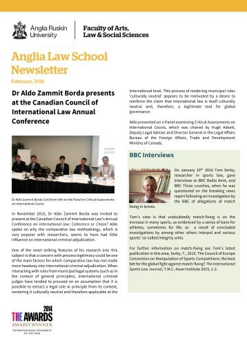 Anglia Law School Newsletter February 2016