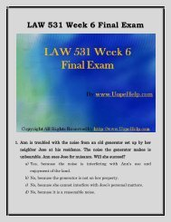 Business LAW 531 Week 6 Final Examination