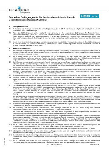 Besondere Bedingungen für Nachunternehmer Infrastrukturelle ...