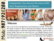 Independent Goa Escorts Services as Per Your Requirement and Desire