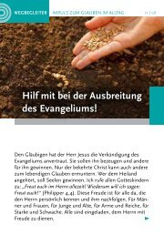 Hilf mit bei der Ausbreitung des Evangeliums!