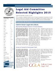 Legal Aid Committee Selected Highlights 2015