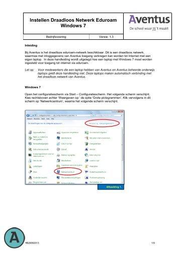 Instellen Eduroam Windows 7